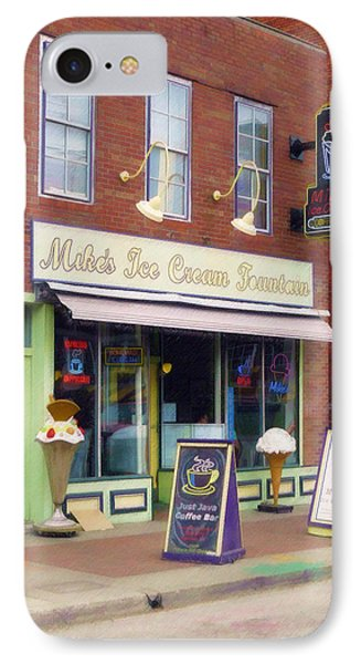 IPhone Case featuring the painting Mike's Ice Cream Fountain by Sandy MacGowan