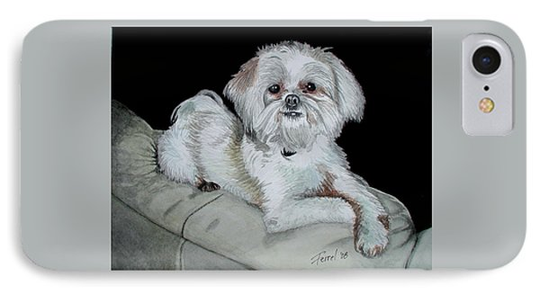 IPhone Case featuring the painting Miki Dog by Ferrel Cordle