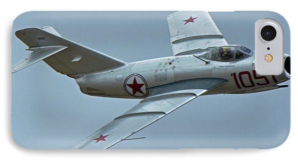 IPhone Case featuring the photograph Mikoyan-gurevich Mig-15 Nx87cn Chino California April 30 2016 by Brian Lockett