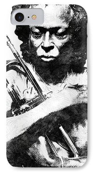 Miles Davis Bw  IPhone Case by Mihaela Pater