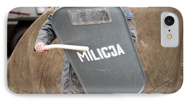 Militia Grey Shield At 32nd Anniversary IPhone Case by Arletta Cwalina