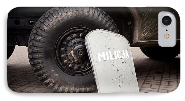 Militia Shield And Tire Of Combat IPhone Case by Arletta Cwalina