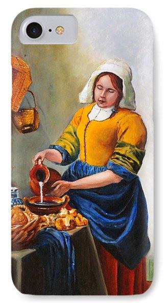 Milk Maid After Vermeer IPhone Case by Enzie Shahmiri