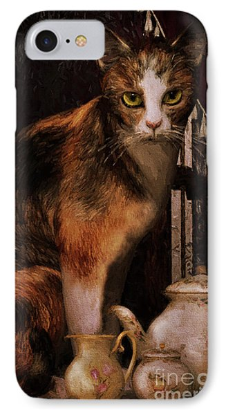 IPhone Case featuring the digital art Milk No Sugar Calico Cat by Shanina Conway
