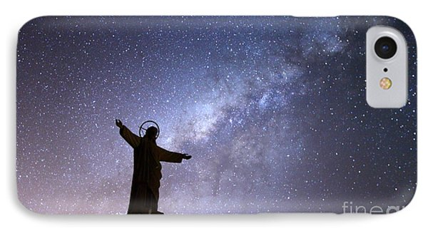 Milky Way And Jesus Christ Statue IPhone Case by James Brunker