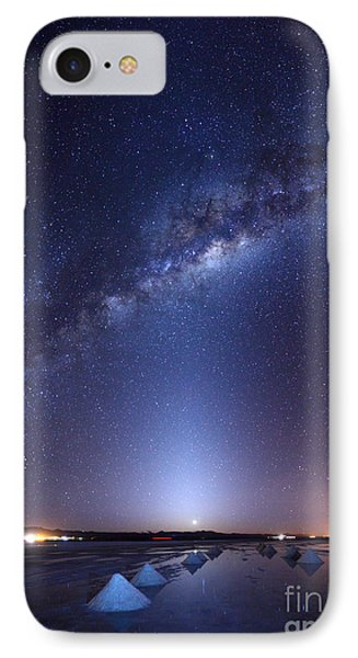 Milky Way And Zodiacal Light Above The Uyuni Salt Flats IPhone Case by James Brunker