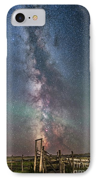 Milky Way Over An Old Ranch Corral IPhone Case by Alan Dyer