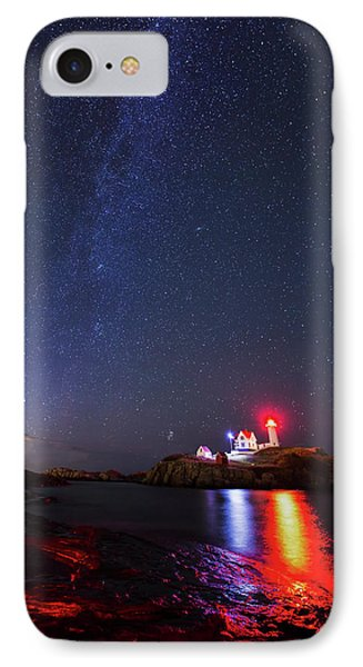 Milky Way Over The Nubble Lighthouse  IPhone Case by Mircea Costina Photography