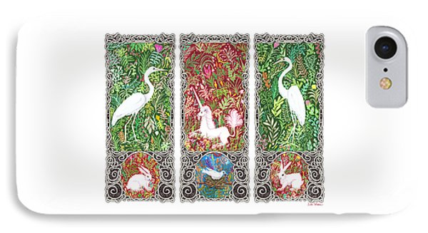 IPhone Case featuring the drawing Millefleurs Triptych With Unicorn, Cranes, Rabbits And Dove by Lise Winne