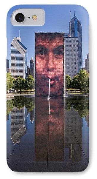 Millennium Park Fountain And Chicago Skyline Phone Case by Steve Gadomski
