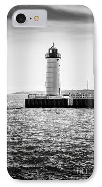 Milwaukee Pierhead Lighthouse Photo In Black And White IPhone Case by Paul Velgos