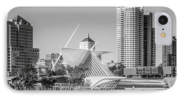 Milwaukee Skyline Panorama In Black And White IPhone Case by Paul Velgos