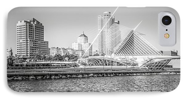 Milwaukee Skyline Photo In Black And White IPhone Case
