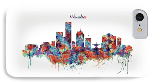 IPhone Case featuring the mixed media Milwaukee Watercolor Skyline by Marian Voicu