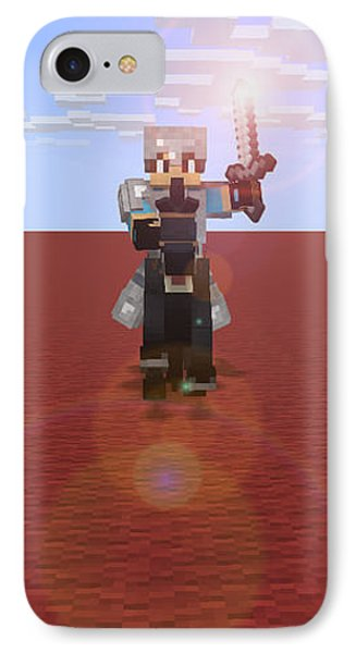 IPhone Case featuring the digital art Minecraft Knight by Brindha Naveen