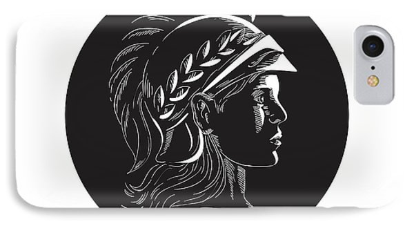 Minerva Head Side Profile Oval Woodcut IPhone Case