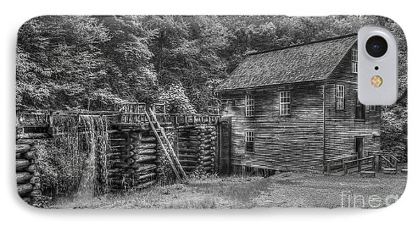 IPhone Case featuring the photograph Mingus Mill Black And White Mingus Creek Great Smoky Mountains Art by Reid Callaway