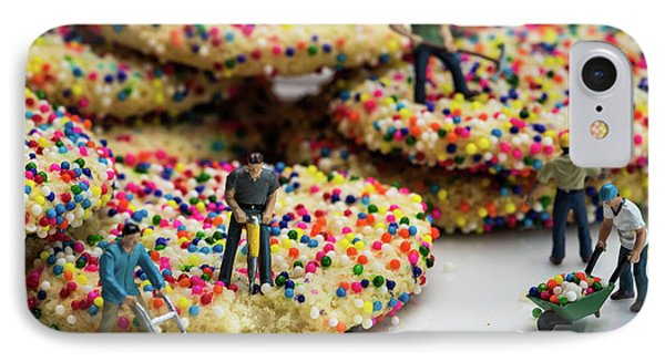 Miniature Construction Workers On Sprinkle Cookies IPhone Case