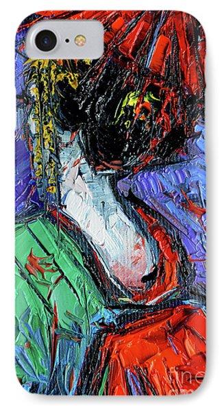 Miniature Geisha Impasto Palette Knife Oil Painting On Canvas IPhone Case