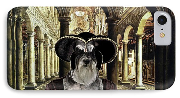 Miniature Schnauzer Art - Noble Lady With Big Hat IPhone Case