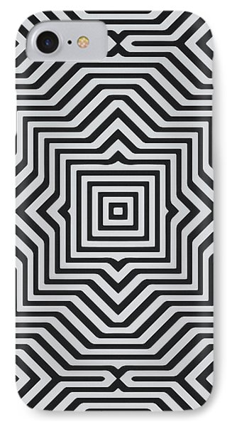 Minimal Geometrical Optical Illusion Style Pattern In Black White T-shirt  IPhone Case