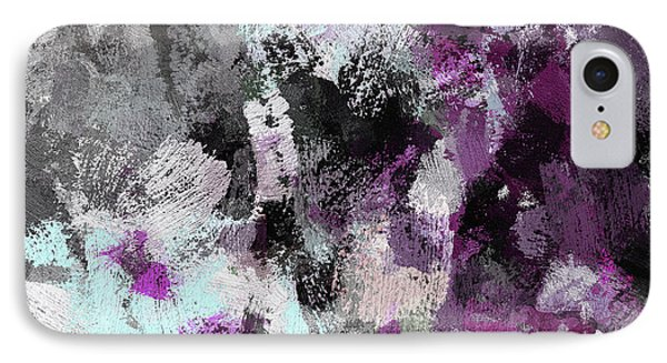 Minimalist And Modern Abstract Painting In Purple Color IPhone Case by Ayse Deniz