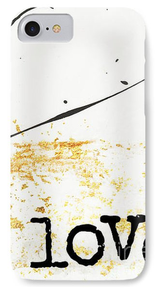 Minimalist Love Collage Gold And Black IPhone Case by WALL ART and HOME DECOR