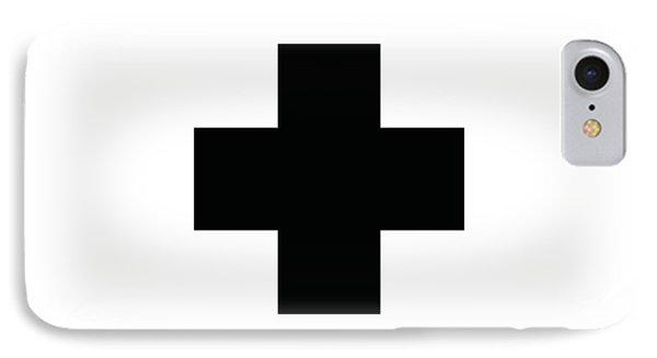 Minimalist Swiss Cross Pattern - Black On White IPhone Case