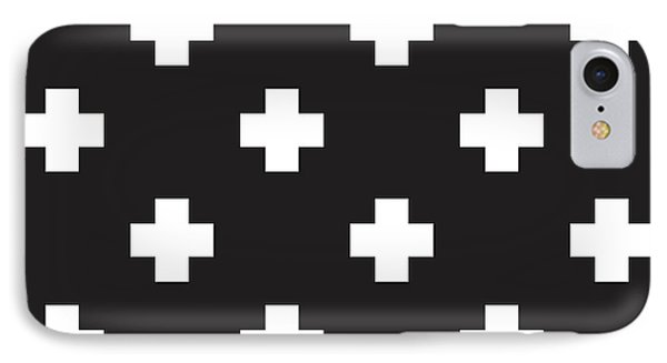 Minimalist Swiss Cross Pattern - Black, White 01 IPhone Case