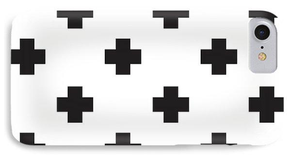 Minimalist Swiss Cross Pattern - Black, White 02 IPhone Case