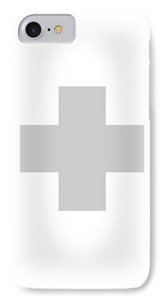 Minimalist Swiss Cross Pattern - Grey On White IPhone Case
