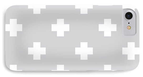 Minimalist Swiss Cross Pattern - Grey, White 01 IPhone Case