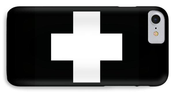 Minimalist Swiss Cross Pattern - White On Black IPhone Case