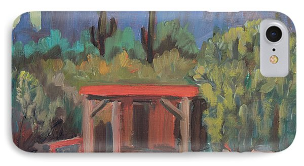 IPhone Case featuring the painting Mining Camp At Superstition Mountain Museum by Diane McClary