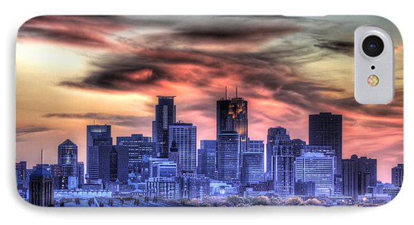 Minneapolis Skyline Autumn Sunset IPhone Case by Shawn Everhart