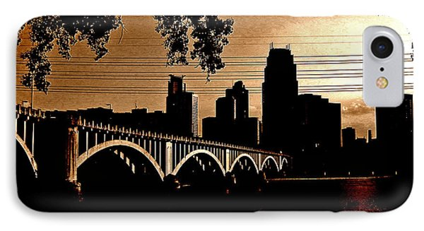 Minneapolis Skyline In Copper Phone Case by Tom Reynen