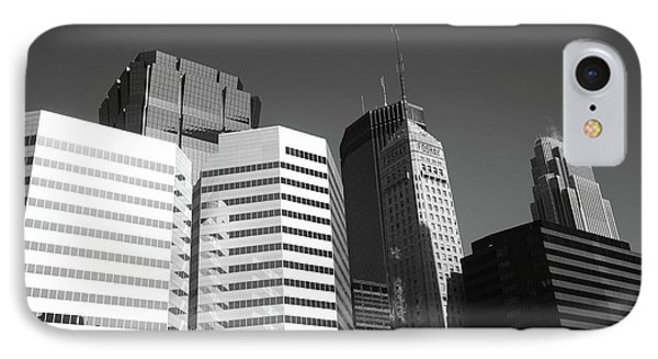 IPhone Case featuring the photograph Minneapolis Skyscrapers Bw 5 by Frank Romeo