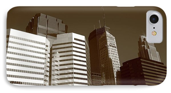 IPhone Case featuring the photograph Minneapolis Skyscrapers 5 Sepia by Frank Romeo