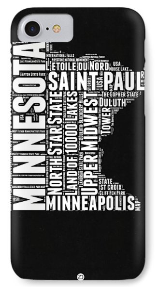 Minnesota Black And White Word Cloud Map IPhone Case by Naxart Studio