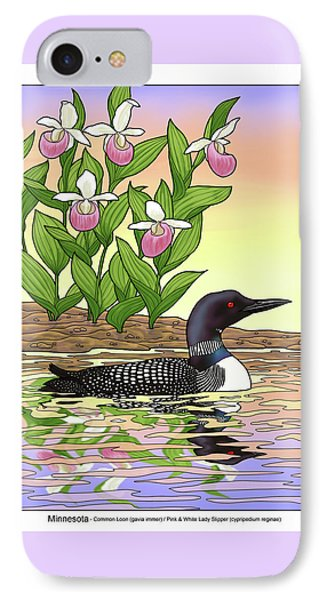 Minnesota State Bird Loon And Flower Ladyslipper IPhone 7 Case by Crista Forest