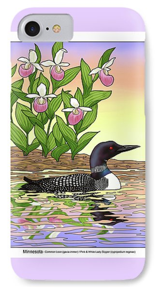 Loon iPhone 7 Case - Minnesota State Bird Loon And Flower Ladyslipper by Crista Forest