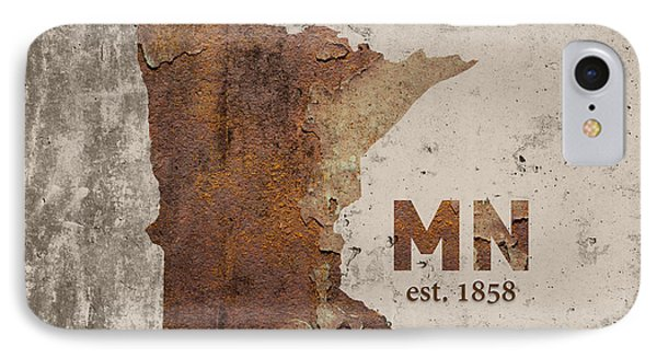 Minnesota State Map Industrial Rusted Metal On Cement Wall With Founding Date Series 036 IPhone Case by Design Turnpike