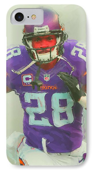 Minnesota Vikings Adrian Peterson 2 IPhone Case by Joe Hamilton