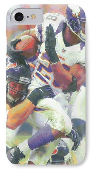 Minnesota Vikings Adrian Peterson 3 IPhone Case by Joe Hamilton