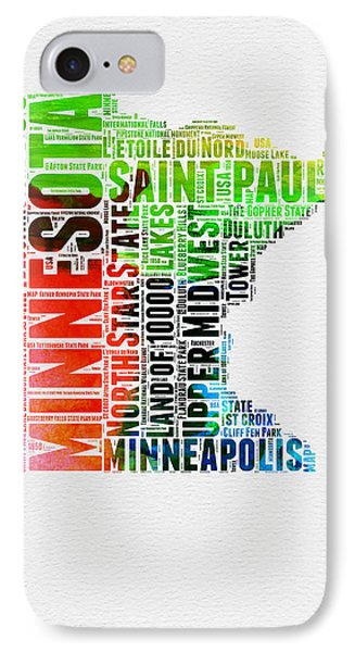 Minnesota Watercolor Word Cloud Map  IPhone Case by Naxart Studio