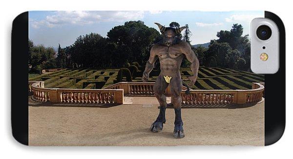 Minotaur iPhone 7 Case - Minotaur In The Labyrinth Park Barcelona. by Joaquin Abella