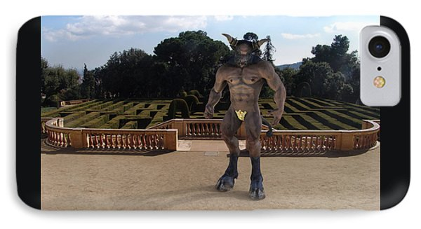 Minotaur In The Labyrinth Park Barcelona. IPhone Case by Joaquin Abella