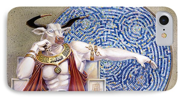 Minotaur With Mosaic Phone Case by Melissa A Benson