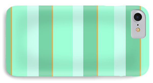 IPhone 7 Case featuring the mixed media Mint Green Stripe Pattern by Christina Rollo