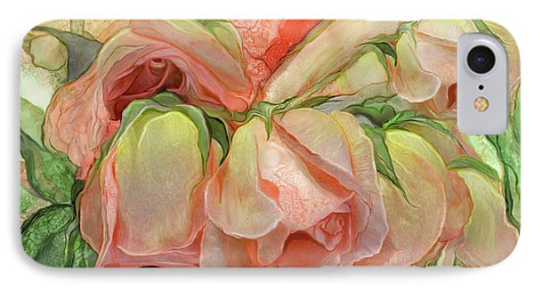 Miracle Of A Rose Bud - Peach IPhone Case by Carol Cavalaris